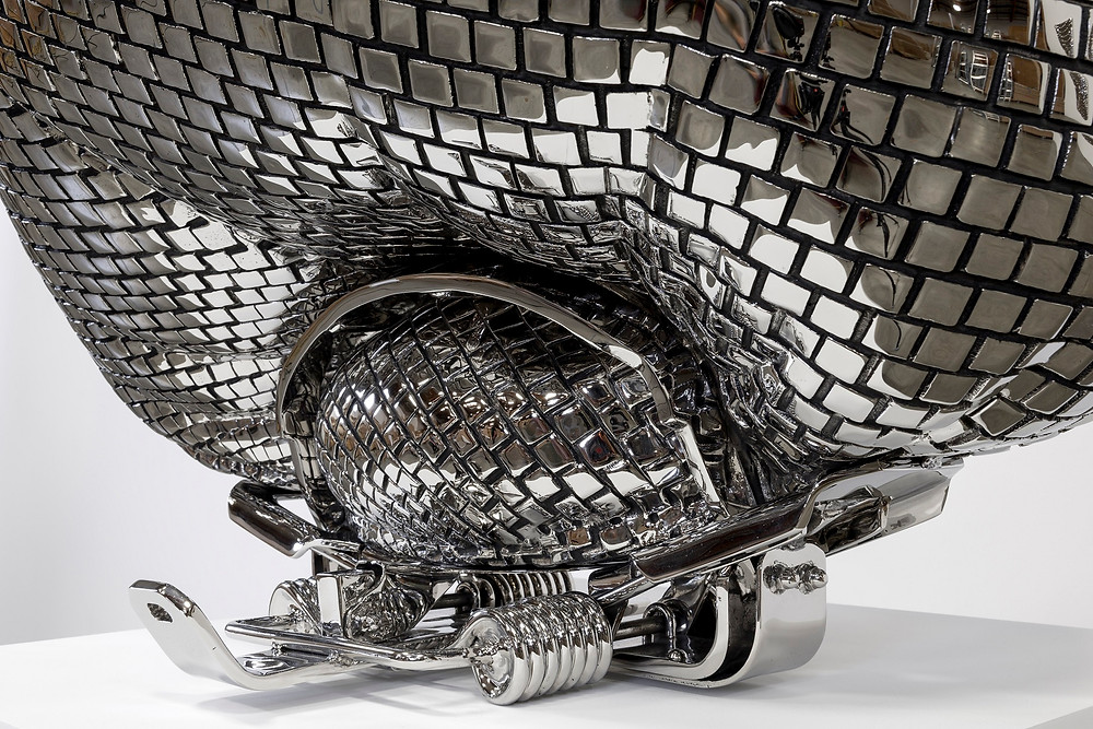 Disco Ball Caught in a Bear Trap (detail), 2013, stainless steel, 71x76x91cm