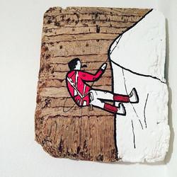 """""""Bergsteiger"""" Acryl auf Altholz, 201"""