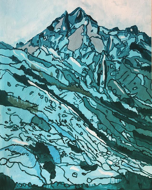 70x1,2m #mountains #artonwood #berge #up