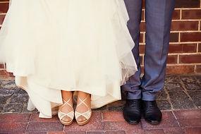Die Braut und des Bräutigams Schuhe