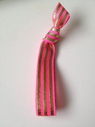 Lux Pink Gold Stripe Hair Tie