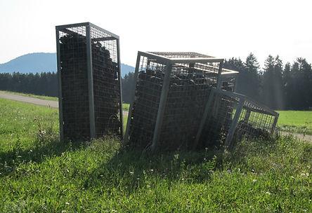 Stahlcontainer mit Kohlebrocken auf einer Wiese im Schwarzwald