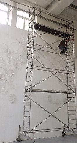 Ausstellungsaufbau, Lichtarbeiten, Lampenschirme