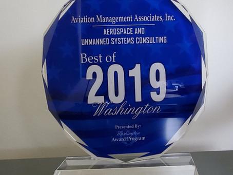 Aviation Management Associates, Inc. Receives 2019 Best of Washington Award