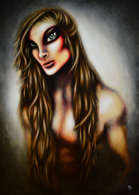 painting of Samson with long hair in a blue background by tiago azevedo a lowbrow pop surrealism artist