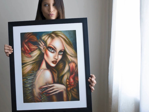 Print of Lonely Mermaid Undersea Painting by Tiago Azevedo 🧜‍♀️