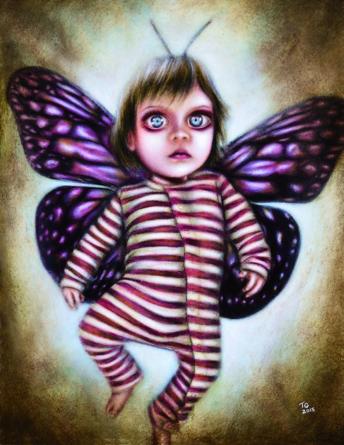painting of a baby fairy flying with pink wings by tiago azevedo a lowbrow pop surrealism artist