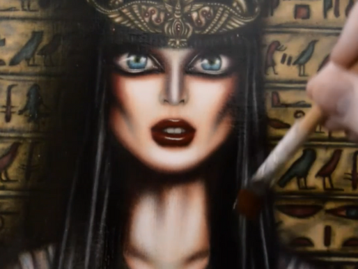 Video of Cleopatra Painting by Tiago Azevedo Lowbrow Art 🦋