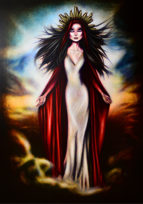 painting of the virgin mary in the sky with a red mantle by tiago azevedo a lowbrow pop surrealism artist
