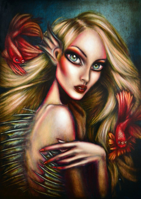 painting of a blond mermaid undersea with a two red fish around her by tiago azevedo a lowbrow pop surrealism artist