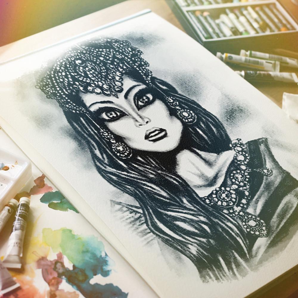 Egyptian Queen art painting Tiago Azevedo lowbrow pop surrealism