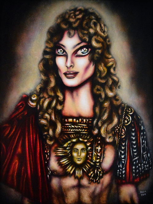 painting of Louie XIV with luxourious garments and the sun by tiago azevedo a lowbrow pop surrealism artist