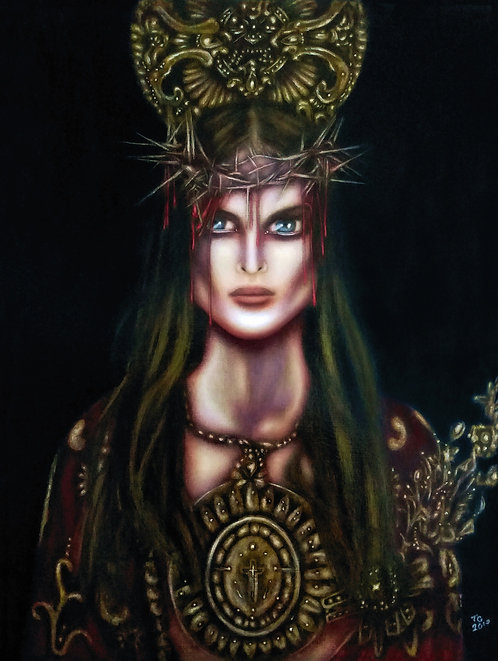 painting of christ ecce homo in a crown of thorns by tiago azevedo a lowbrow pop surrealism artist