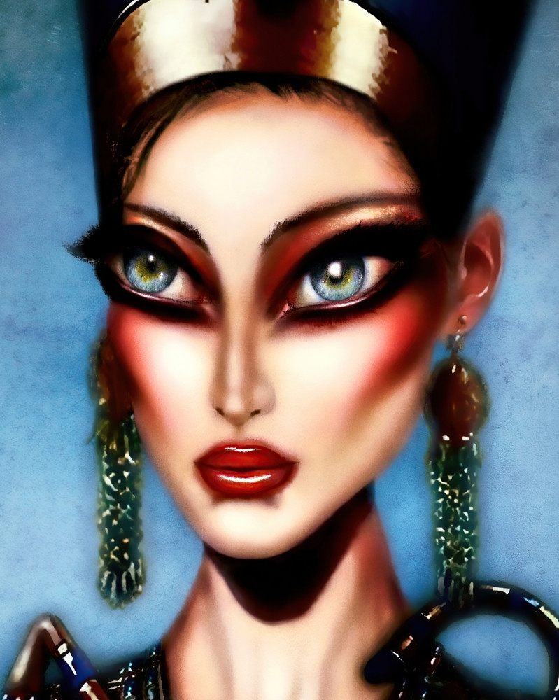 painting of queen nefertiti with egyptian jewels in a blue background by tiago azevedo a lowbrow pop surrealism artist