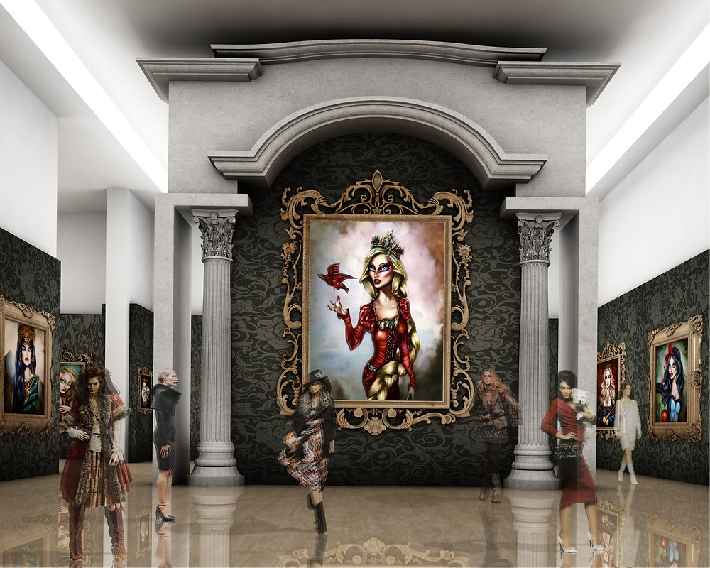 Luxourious neoclassic popsurrealist painting exhibit by tiago azevedo