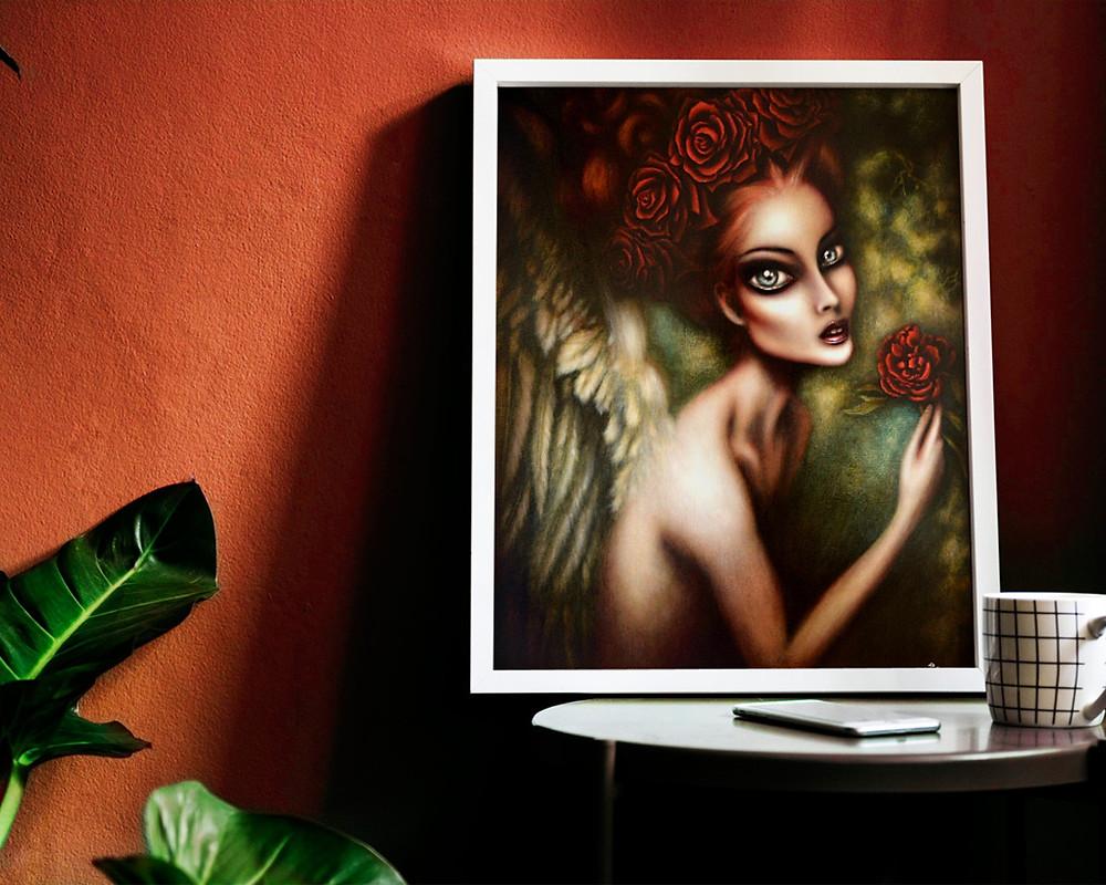 Angel gabriel art print painting Tiago Azevedo lowbrow pop surrealism artist