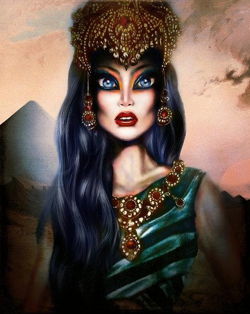 egyptian queen hatshepsut in a piramyd desert with luxurious jewlery by tiago azevedo a lowbrow pop surrealism artist