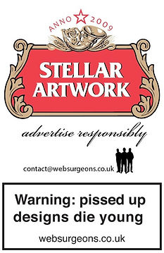 Client: WebSurgeons - Stellar Artwork gag - Warning: pissed up designs die young - https://ziggytashi.com