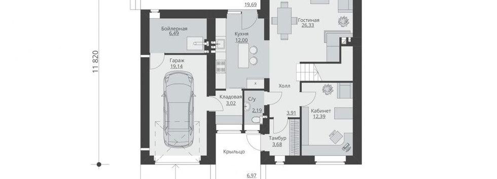 Планировка первого этажа дома B-004