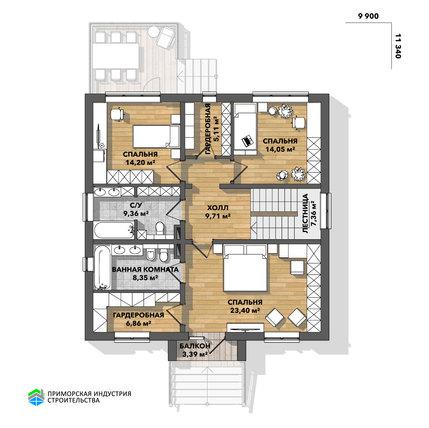 Планировка второго этажа дома BR-032