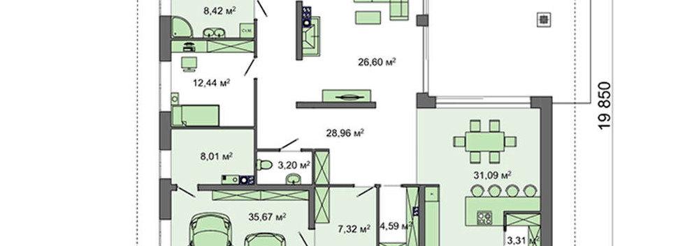 Планировка одноэтажного дома H-004
