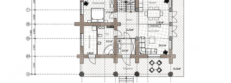 """Планировка дома """"дикий сруб""""  KANAD-006"""