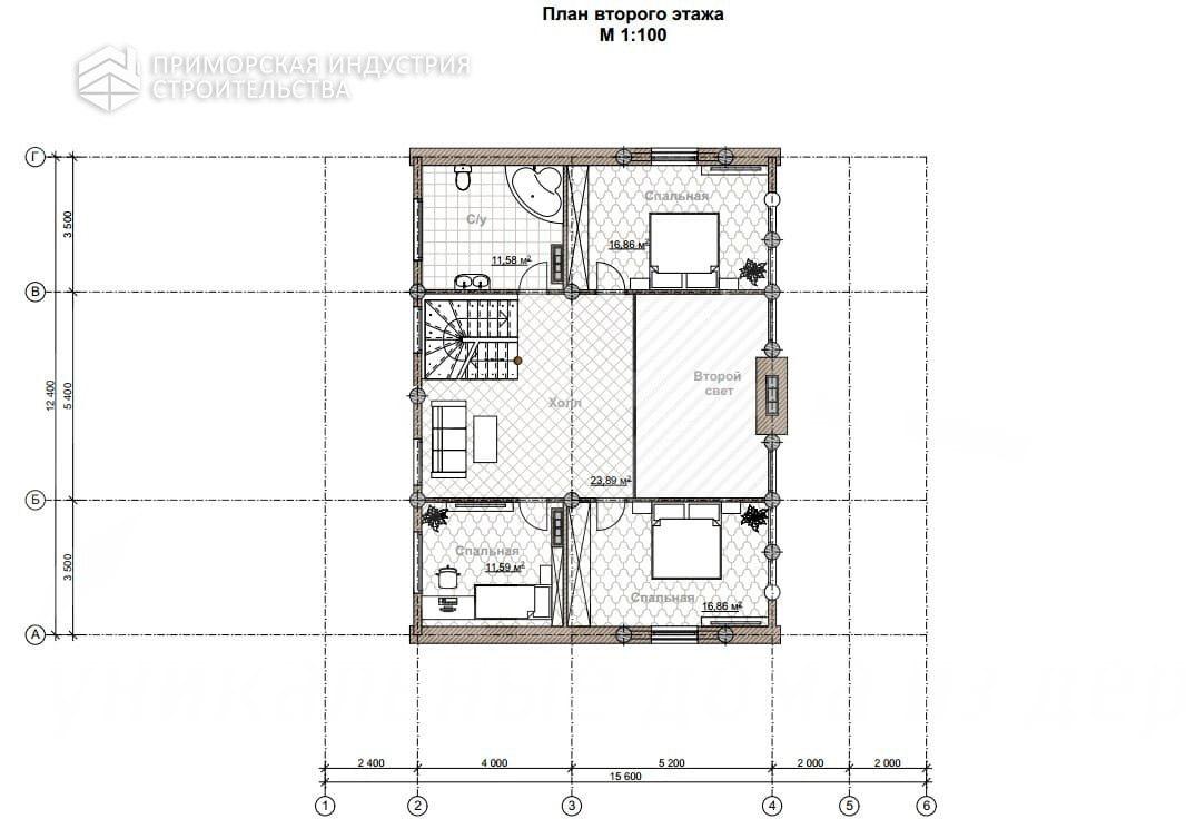Планировка второго этажа дома KANAD-005