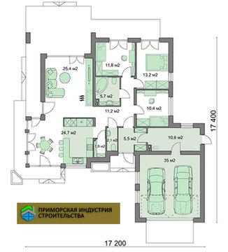 Планировка одноэтажного дома H-008