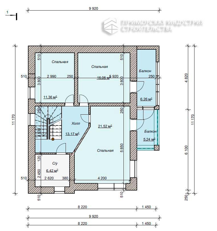 Планировка первого этажа дома HAUS-0-03