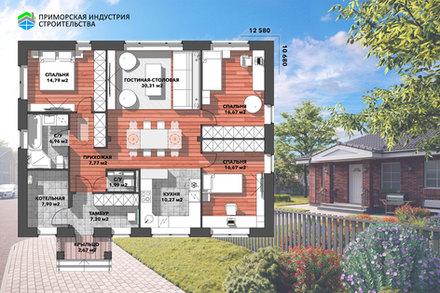 Планировка кирпичного дома BR-067