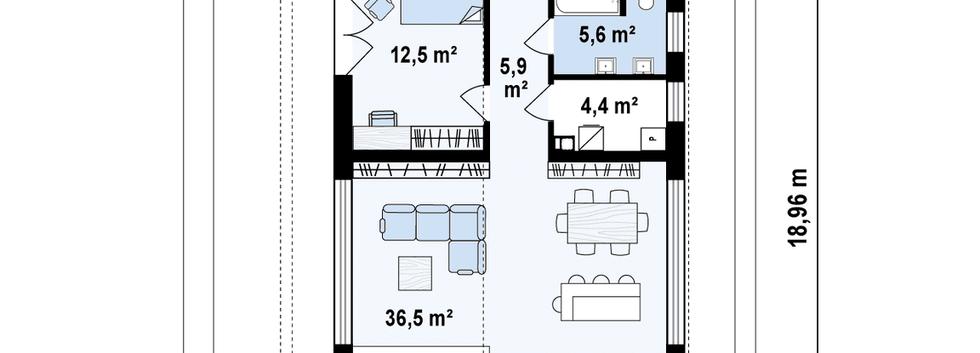 Планировка современного дома ANGAR-012