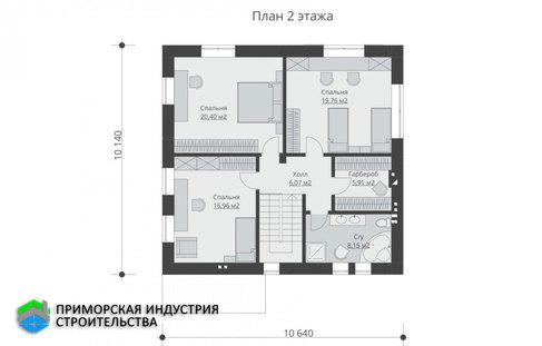 Планировка второго этажа дома B-006