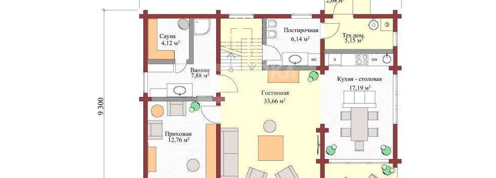 Планировка деревянного дома BRUS-001