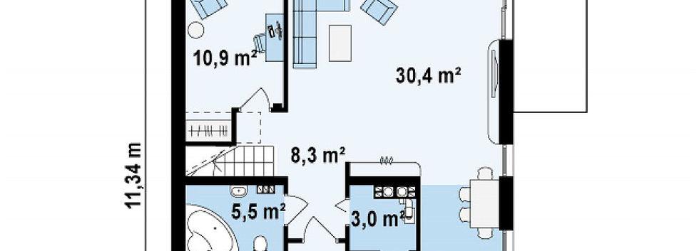 Планировка первого этажа дома ANGAR-004