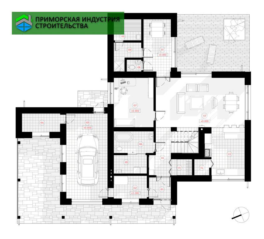 План первого этажа дома G-005