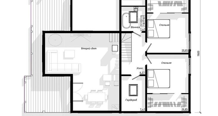 Планировка второго этажа BRUS-921