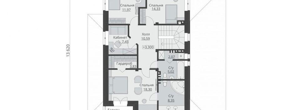 Планировка первого этажа дома B-002