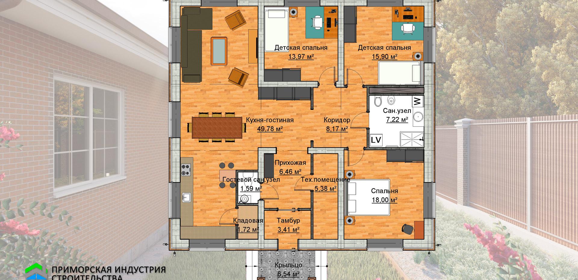 Планировка одноэтажного дома A-007
