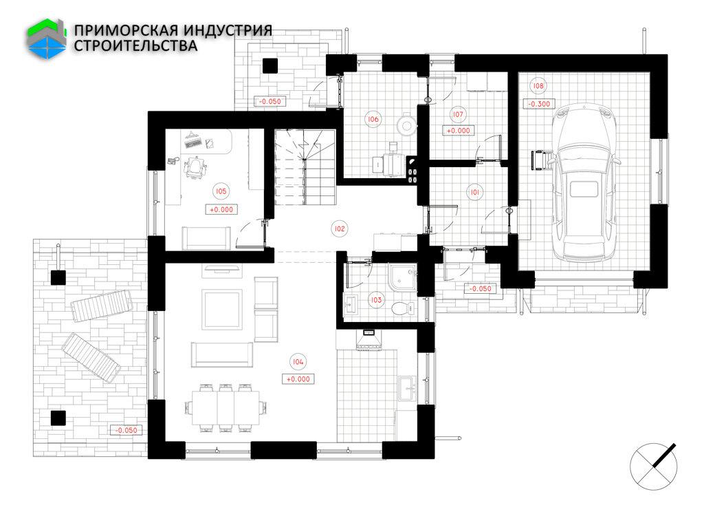 Планировка первого этажа дома S-002 Б