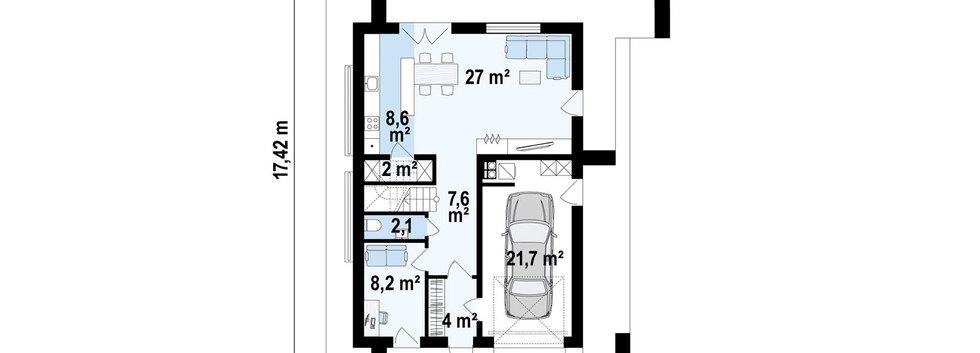 Планировка первого этажа дома HAUS-011