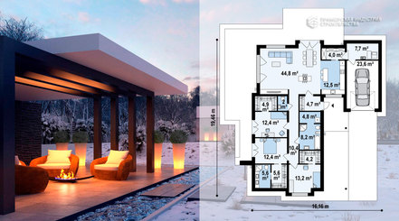 Планировка одноэтажного дома STYLE-006 