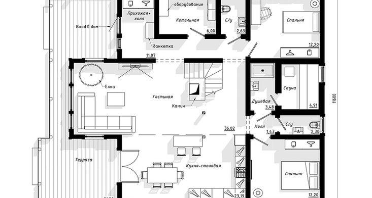 Планировка первого этажа BRUS-921