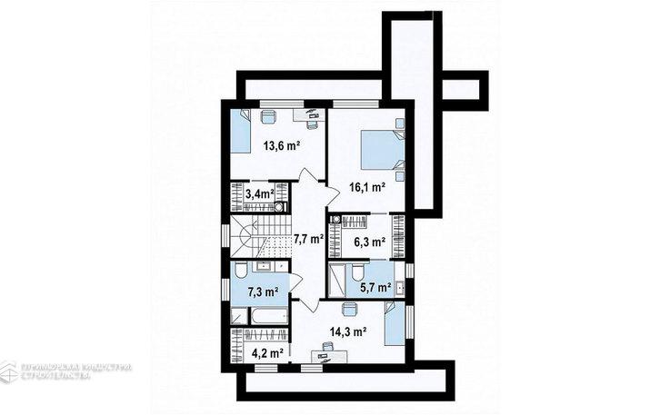 Планировка второго этажа дома HAUS-011