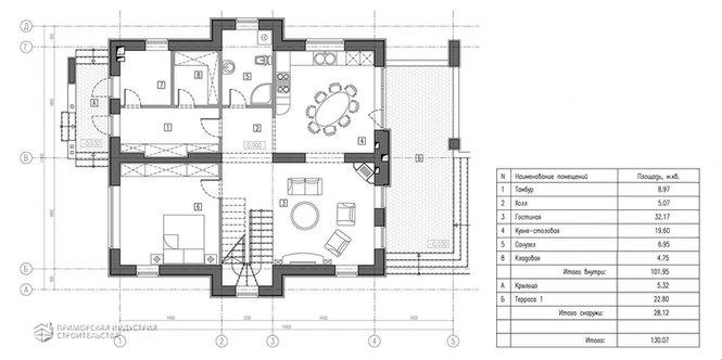 Планировка первого этажа проекта дома A-001
