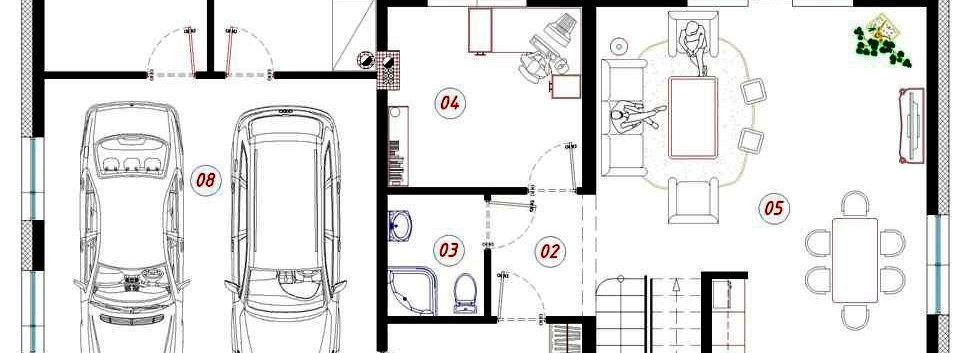 Планировка первого этажа дома G-004