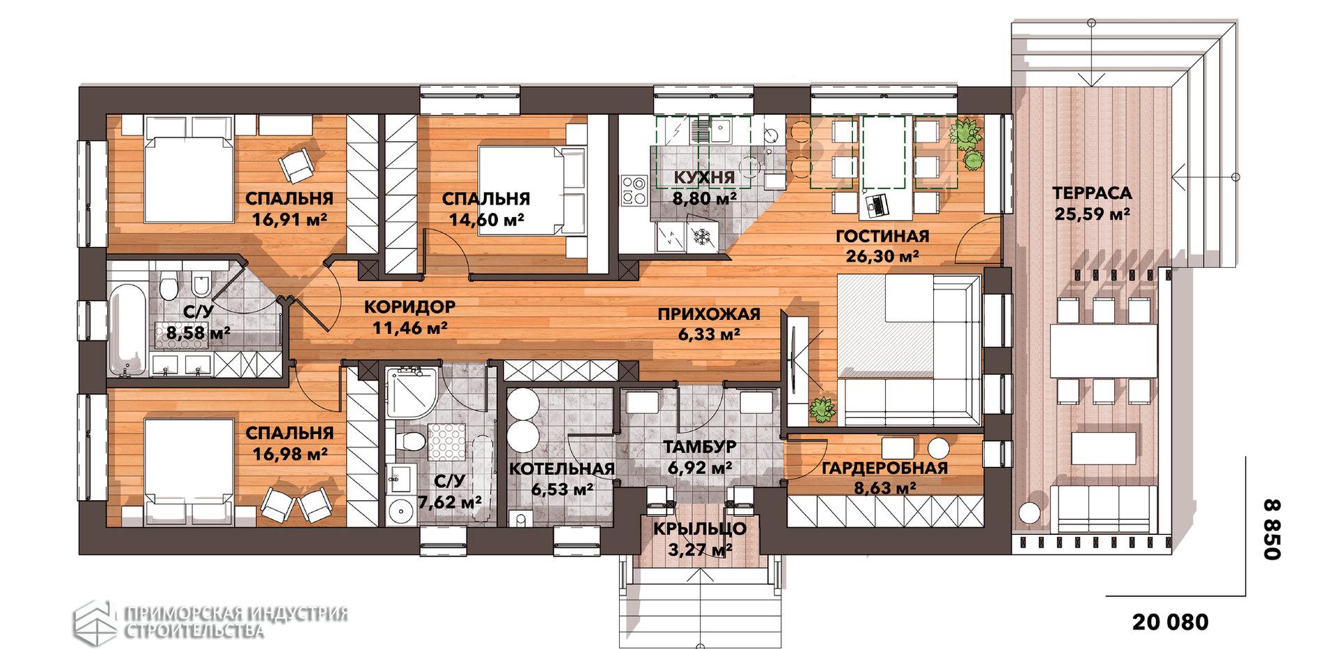 Планировка одноэтажного дома BR-031