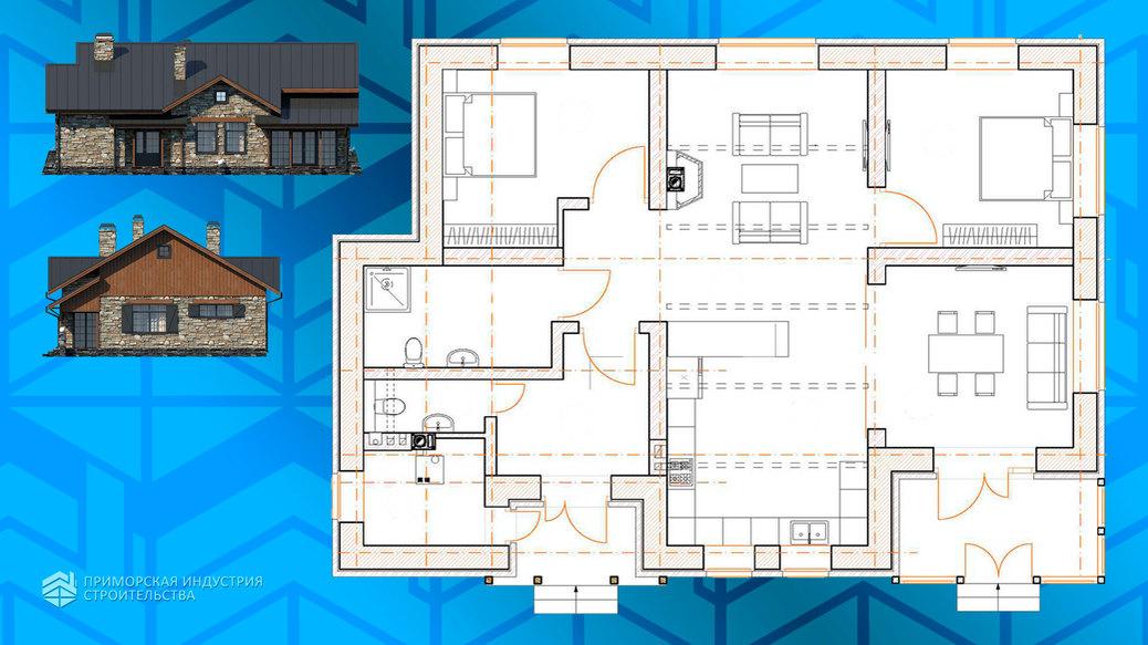 Планировка загородного дома с камином HAUS-0-09
