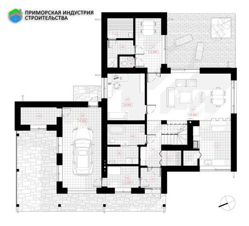Планировка первого этажа дома S-004