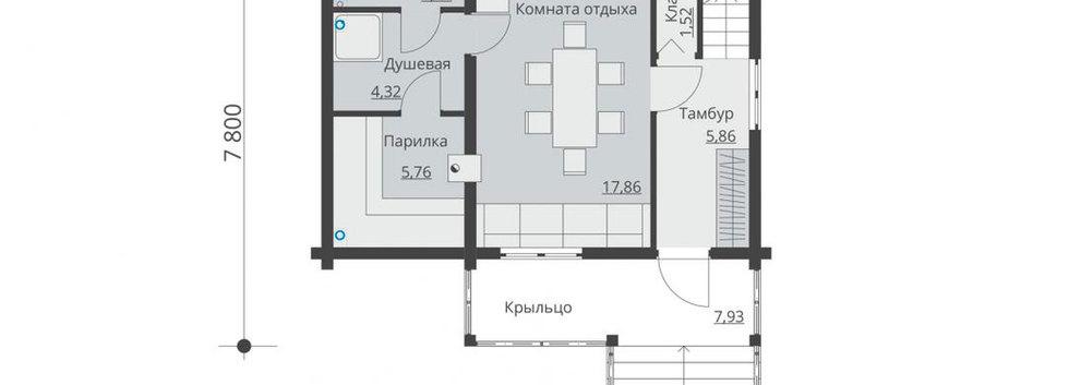 Планировка второго этажа дома B-005