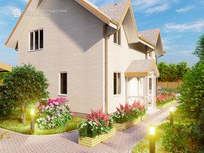 Визуализация проекта дома с мансардой B-001
